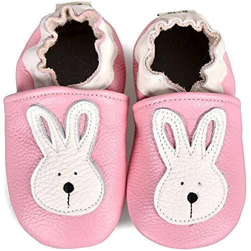 SUADEX Krabbelschuhe Leder Lauflernschuhe Jungen Mädchen Baby Weicher Babyschuhe 0-24 Monate Kleinkind Hausschuhe mit Wildledersohlen,Pink Hase,12-18 Monate