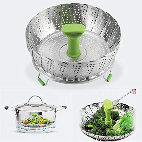 11 Zoll Lebensmittelqualität Edelstahl Faltdampfer, Faltdampfer Korb, Dampferkäfig Zubehör für Restaurant Kochwerkzeug Küche