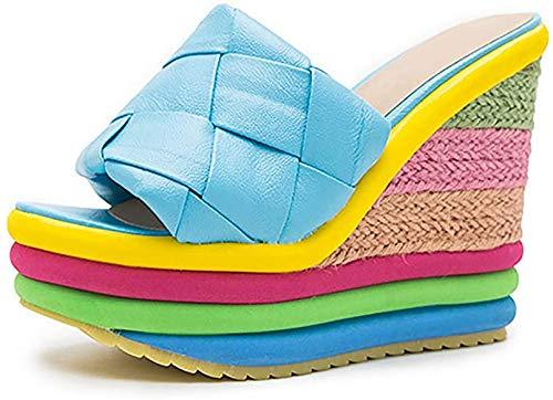 Sexy Sandalias para Mujer para Caminar Verano Plataforma Cuña Sandalias Ligero Punta Abierta Slingback Casual Comodidad Sandalias Baile, Vestido, Fiesta, Boda,Azul,35