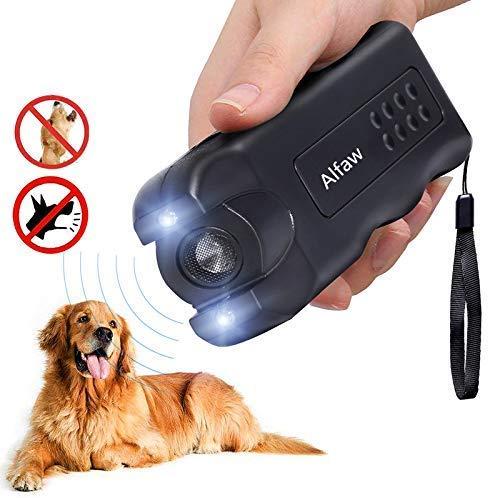 Alfaw Handheld Dog Repellent, Ultrasonic Infrared Dog Deterrent,LED Dog Repeller, Bark Stopper Anti Barking Tool with Flashlight,Good Behavior Dog Training Device