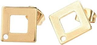 ARRICRAFT 10 Sets Metal Ear Stud Components with Earnuts Rhombus Earring Setting for Earring Making