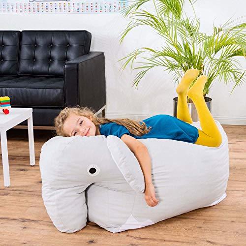 Smoothy Kindersitzsack Elefant - Tierform Sitzsack für Kinder - Kindermöbel XXL Stofftier aus Baumwolle - 2