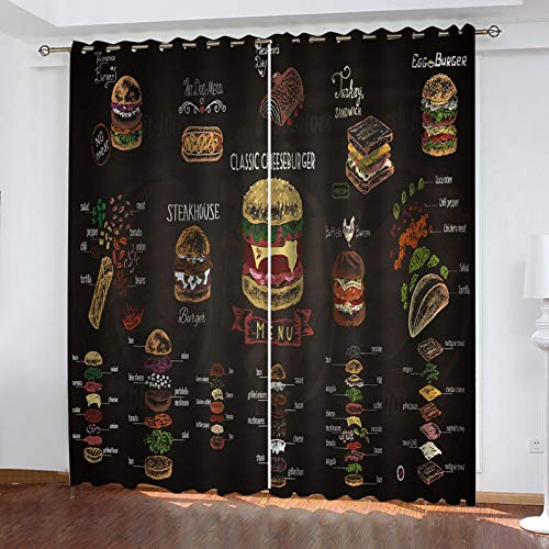 WLHRJ Cortina Opaca en Cocina el Salon dormitorios habitación Infantil 3D Impresión Digital Ojales Cortinas termica - 234x138 cm - Restaurante Burger Board