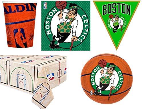 BIGIEMME S.R.L. Set Kit NBA Boston Celtics Coordinato per Feste e Compleanni 16 Persone ( 16 piatti-18 bicchieri-16 tovaglioli-1 tovaglia-bandierini 3,65 mt)