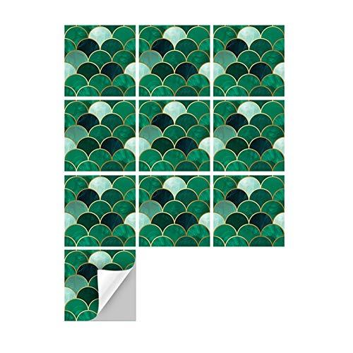 Pegatinas de azulejos para suelo de pared para cocina, baño, dormitorio, sala de estar, impermeable, accesorios para decoración del hogar, color gris, verde, negro, blanco, 10 unidades (15 x 15 cm)