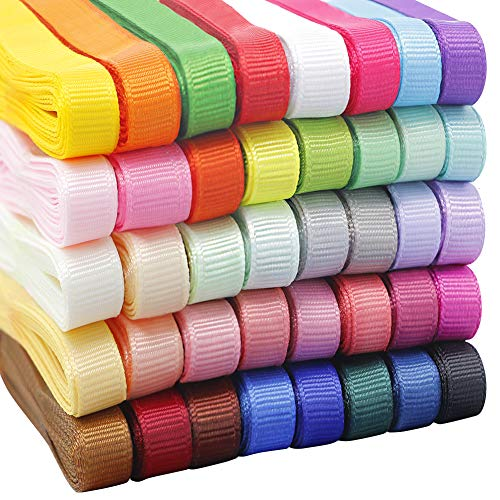 Christmas Ribbon for Crafts 60 Yards 3/8'' Grosgrain Fabric Xmas Decoration Gift Wrapping (12Colors x 5Yds Packed in Roll)