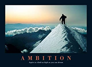 Pyramid America Ambition-Mountain Climber on The Summit-Motivational, Photography Poster Print, 24 by 36-Inch