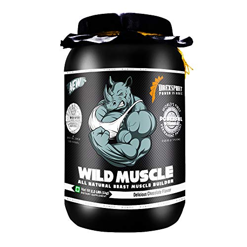 DREXSPORT - Wild Muscle - All Natural Lean Mass Gainer Whey Protein Powder - Isolate + Concentrate + Creatine HCL + BCAA + Glutamine - 1Kg Chocolate