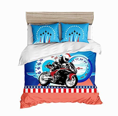 DWSM Bettbezug, 3D-Druck, Motiv: Motorrad, Fahrzeuge mit Kissenbezug, Fast und Furious Bettwäsche, 135 x 200 cm