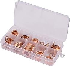 280 stuks koperen afdichtringen koper platte schijf sluitringen platte afdichtring assortiment kit met doos geschikt voor ...