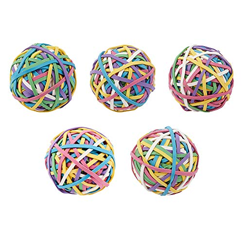 NBEADS 5 Rolls 600Pcs Large Colored Rubber Band Balls, Rainbow Colorful Elastic Stretchable Rubber Bands Bulk Stationery Holder Elastic Band Loops for Arts Crafts Document Office Supplies Organizing