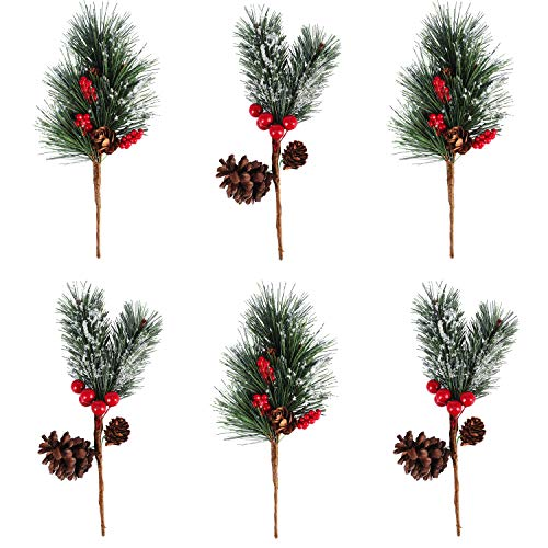 Alonsoo Artificial Pine Picks Berries Pinecones for ceafts, Needle Small Berries Pinecones Christmas Tree Picks and Sprays Artificial Christmas Greenery Flowers Branches 6pcs.