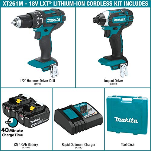 Makita XT261M 2 Piece 18V Lithium-Ion 4.0 Ah Cordless Combo Kit