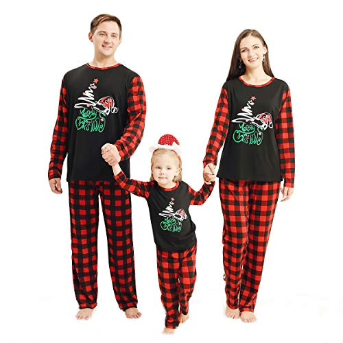 OhhGo. Conjunto de pijama navideño para la familia, ropa de dormir a juego para la familia, ropa de noche de Navidad, pantalones para mujeres, hombres, niños, pelele