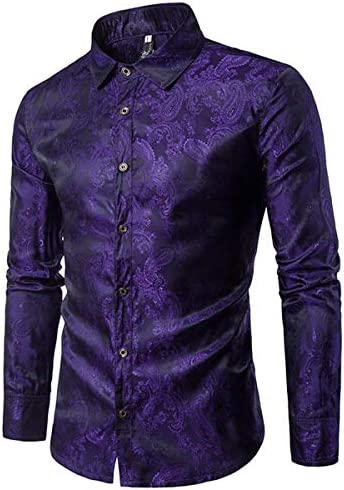 Cloudstyle Mens Paisley Shirt Long Sleeve Dress Shirt Button Down Casual Regular Fit Purple product image