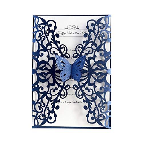 Jannyshop 20 STÜCKE Schmetterling Hochzeitseinladungen Exquisite Carving Gruß Lädt Kartenabdeckung für Verlobung Geburtstagsfeier