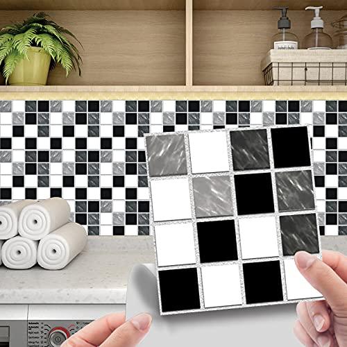 CACAIMAO Pegatinas De Azulejos De Mosaico 3D, Pegatinas De Azulejos De Película Brillante De PVC, Pegatinas De Decoración De Escaleras De Decoración del Hogar 24 Piezas 15cm*15cm