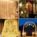 JTL QAKTA Window Curtain Lights 300 LED, 8 Lighting Modes Remote Control, Decoration for Christmas Bedroom Wall Party Indoor Outdoor (Curtain is Not Included)?Warm White?