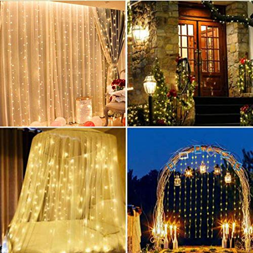 Window Curtain Lights 300 LED, 8 Lighting Modes Remote Control, Decoration for Christmas Bedroom Wall Party Indoor Outdoor (Curtain is Not Included)(Warm White)