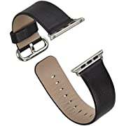 Inzhirui Apple Watch Band Top-grain Leather Band Strap with Stainless Metal Clasp for Apple Watch All Models 42mm