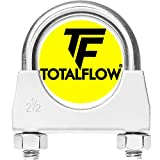 TOTALFLOW Natural Finish 2.5' TF-U250 304 Stainless Steel Saddle U-Bolt Exhaust Muffler Clamp-2.5 Inch