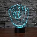 Guantes De Béisbol Lámpara De Mesa Táctil 7 Colores Lámpara De Escritorio Cambiante Lámpara 3D Novedad Luces De Noche Led Luz Led