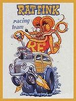 Rat Fink レーシングチーム エド・ロス ビッグダディ ダディ・ロス メタルサイン 8×12インチ 面白いヴィンテージサイン