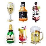 6 piezas Globos de Champán, Conjunto de Botella de Cerveza Globo, Globos de Papel de Aluminio Inflables Reutilizables, para El Suministro de Decoración Nupcial de Cumpleaños de Boda En La Fiesta