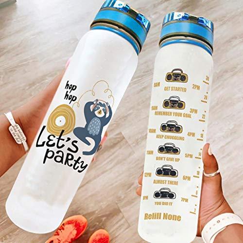 Hothotvery Botella deportiva con texto impreso divertido 'Let es Party Markierung Sportflasche sin BPA-Frei 1L ideal para camping white2 1000 ml