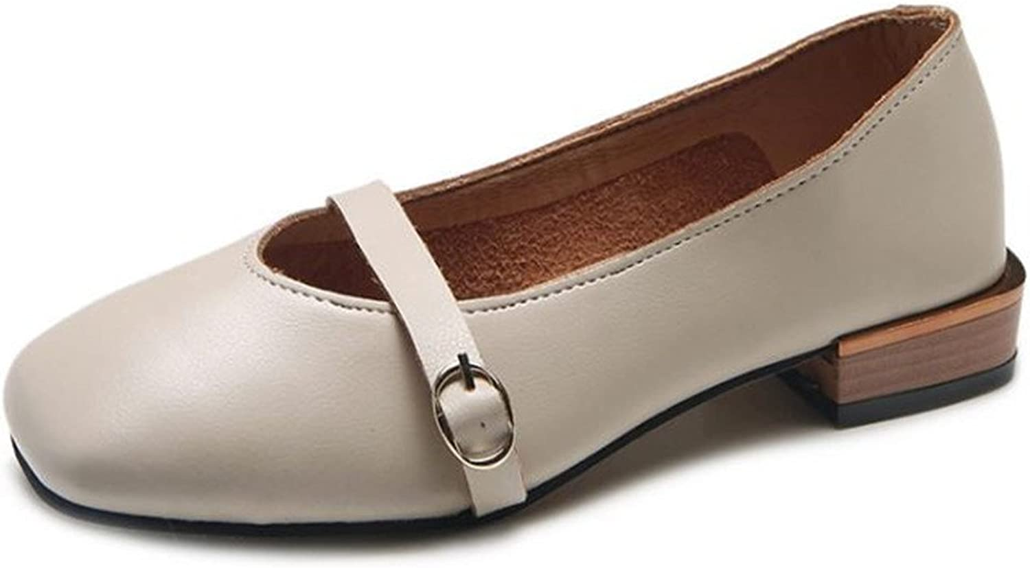 COLOV Women's Mary Jane Style Leather Simple Flats