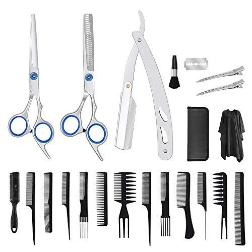 Hairdressing Scissors 32 in 1 Haarschnittschere Familiengebrauch Haarschnitt Schere Gesetzt Profi Effilierschere Haarschere mit Haarschnitt Umhang Persönliche Haarschere für Damen,Herren und Kinder