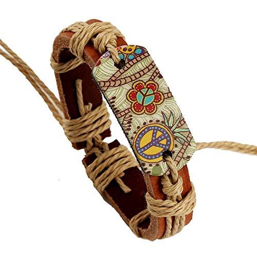 HMANE Pulsera Ajustable de Cuero Retro Hippie de Moda joyería Hecha a Mano para Mujer Regalo de Cuerda con Estampado de Flores