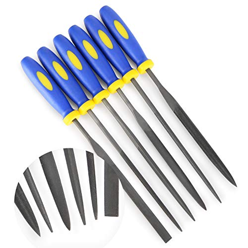 MINI Needle File Set (Carbon Steel 6 Piece-Set) Hardened Alloy Strength Steel - Set Includes Flat, Flat Warding, Square, Triangular, Round, and Half-Round File(6