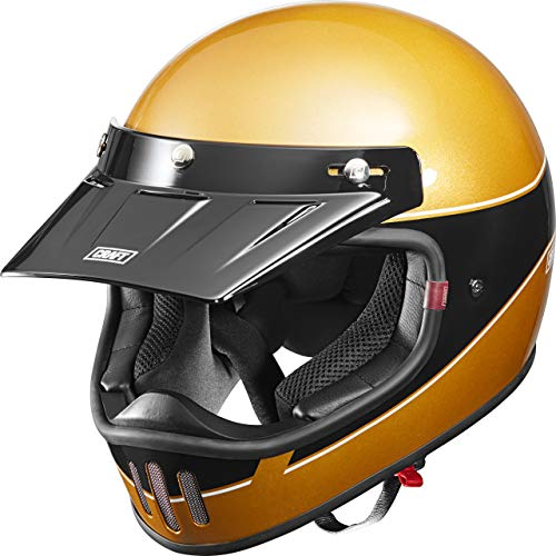 Craft Motocross Helm Motorradhelm Cross Helm Enduro Helm MX-Line 1.0 - Retro 3C Black/Gold Design XL, Unisex, Cross/Offroad, Ganzjährig