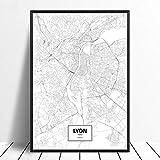 Leinwanddruck,Lyon Frankreich Schwarz Weiß