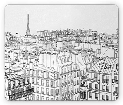 N\A Alfombrilla Paris, Ilustración de diseño de Tema de Arquitectura de techos en París y Torre Eiffel, Alfombrilla de Goma Antideslizante Rectangular de tamaño estándar, Blanco y Negro