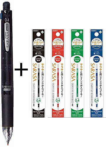 Zebra Multi Function Sarasa 4 Plus S Black/Red/Blue/Green Ink 0.4mm Ballpoint Pen 0.5mm Mechanical Pencil Black Body (J4SAS11-BK)+ Refill 4 Colors 0.4mm Set