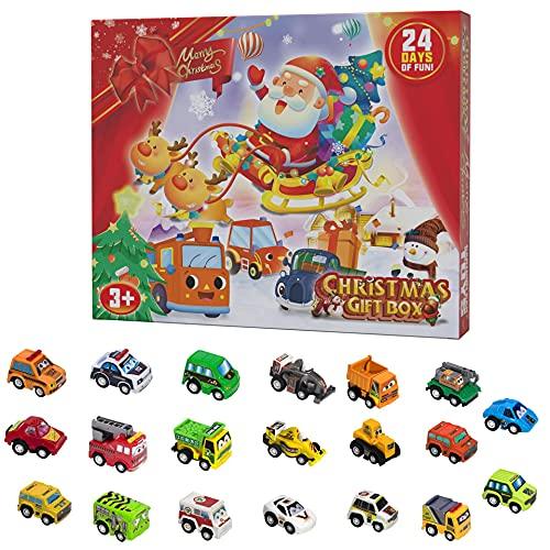 Pulls Back Cars Toy Calendrier de l'Avent, Calendriers de l'Avent de Voiture avec 24 pièces Pulls Back Cars, Calendrier de Compte à rebours de Noël pour Les Enfants de Plus de 1 an