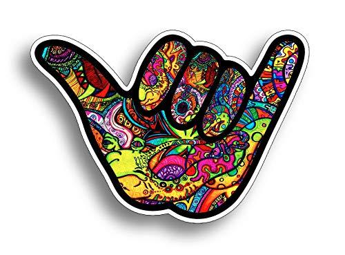 Sticker-Designs 8cm! Klebe-Folie Wetterfest Made-IN-Germany Graffiti Hang Loose Shaka Alles Cool Hand-Zeichen Surf Z243 UV&Waschanlagenfest Auto-Aufkleber Profi-Qualität! AUCH OHNE Rand!