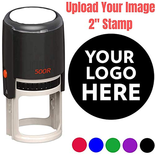 2' Logo Stamp - Custom Stamp - Personalized Business Stamp Self-Inking Black Red Blue Black Ink - Custom Round Text Business Stamp Large 2 Inch Stamper