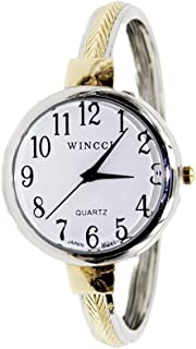 Women's Classic Easy Read Large Size Bangle Cuff Watch-
