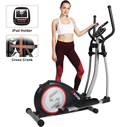 SNODE Elliptical Machine Trainer, Magnetic Elliptical Exercise Training Machine with Cross Crank and LCD Monitor(Model: E20 New)