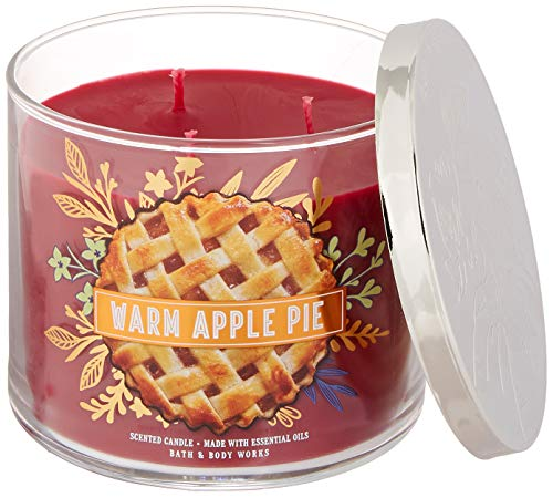 Bath and Body Works 3 Wick Scented Candle Warm Apple Pie 14.5 Ounce