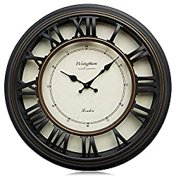 Westzytturm Large Modern Wall Clock Black 18 inch, 3D Roman Numerals Battery Operated Non Ticking Silent Decorative Wall Clocks for Living Room Kitchen Office