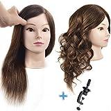 Ersiman 100% 16 'cabeza de entrenamiento de peluquería de cabello humano cosmetología maniquí cabeza de maniquí con abrazadera libre