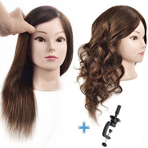 Ersiman Übungskopf mit 46cm langen menschlichen Haaren, 100{90a23de09aaaba7ebfc6a54e66a34c9bbd868b9e290ba06962fcf11248e12400} Echthaar, Puppenkopf für Friseure und Kosmetiker, mit gratis Schraubklemme
