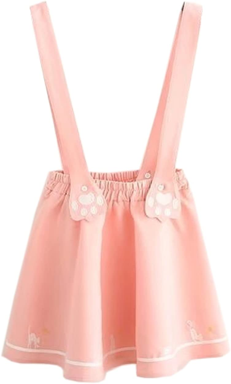 Hotmiss Women's Sweet Cat Paw Embroidery Pleated Mini Skirt with 2 Suspender