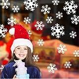 HCCY Navidad Copo de Nieve de Cristal Adhesivo Pegado Tienda en páginas HTML estáticas Son Rojas y Copos Blancos Carteles de Cine Windows Puerta Copos Blancos, CALCOMANÍA