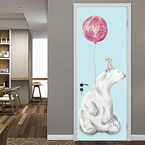 Deur Stickers voor binnendeuren 3D Cartoon dier Ballon zelfklevende kunst deur behang muurschilderingen waterdichte Vinyl verwijderbare Poster Slaapkamers Woonkamer Toilet Keuken Thuis deur Art Creatieve Decorat 90x210cm