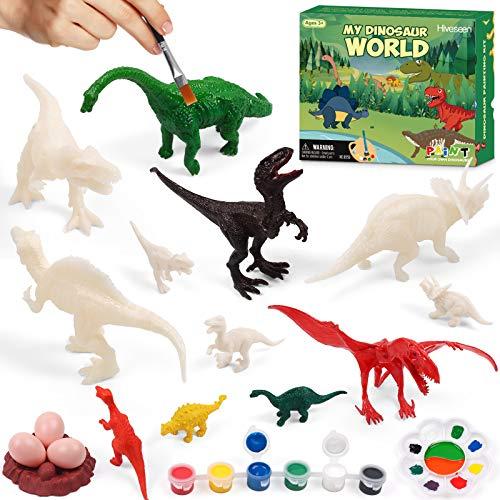 Hiveseen Dinosaurier Spielzeug, 3D DIY Dinosaurier Malset, Bemalen und Basteln Dinosaurier Figuren für Kinder Jungen Mädchen Alter 4 5 6 7 8 Jahre alt